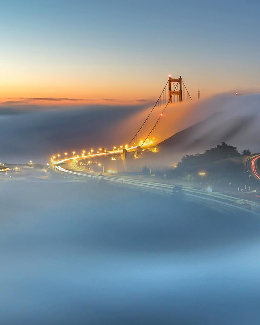 Fog over the Golden Gate Bridge San Francisco California by Ed Francisco #sanfrancisco #sf