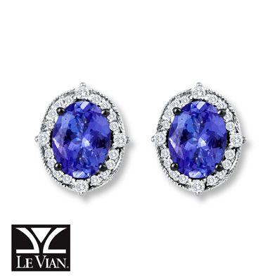 Levian Tanzanite Earrings 1 5 Ct Tw Diamonds 14k Vanilla Gold These Would Go
