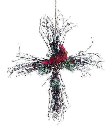 Love this Twig Holiday Bird Cross Wall Art on #zulily! #zulilyfinds
