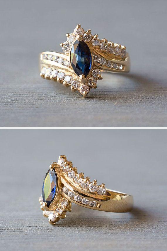 14k Gold Marquise Shire Ring Vintage Diamond Engagement 1980s Retro Anniversary Gift September Birthstone