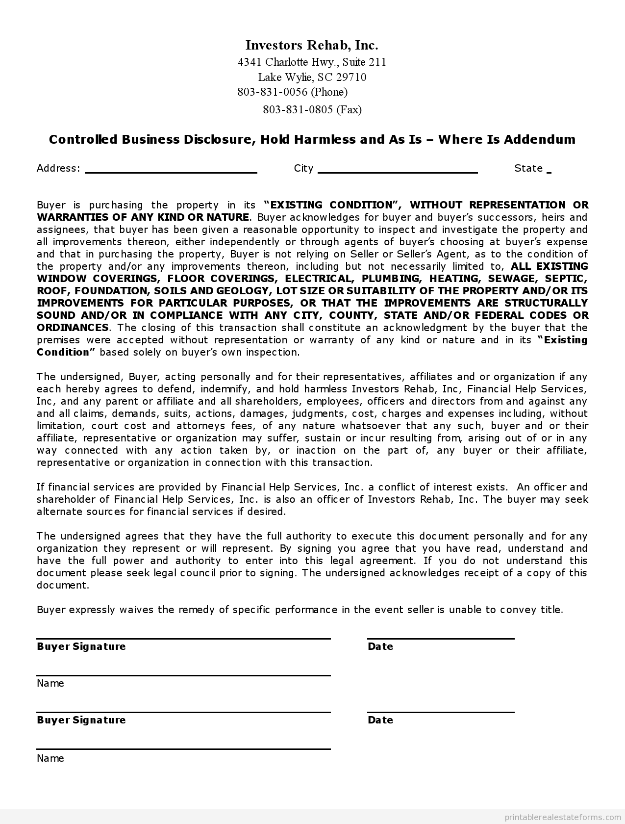 Sample Printable Controlled Business Disclosure As Is Addendum Form Real Estate Forms Legal Forms Online Real Estate