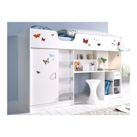lit mezzanine avec plan de travail + armoire + étagères | armoire