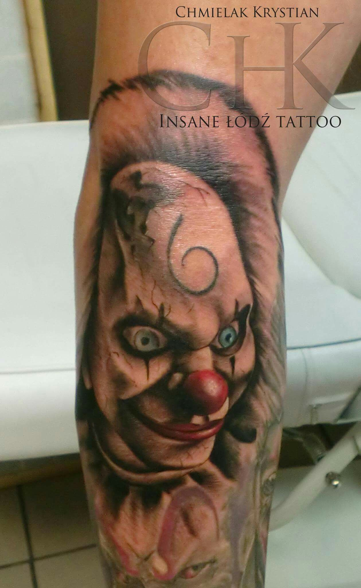 Scery Clown Tattooinsane łódź Tattoo Krystian Chmielak