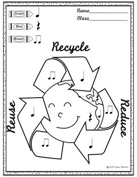 Recycling Music Printables/Worksheets. Reduce, Reuse