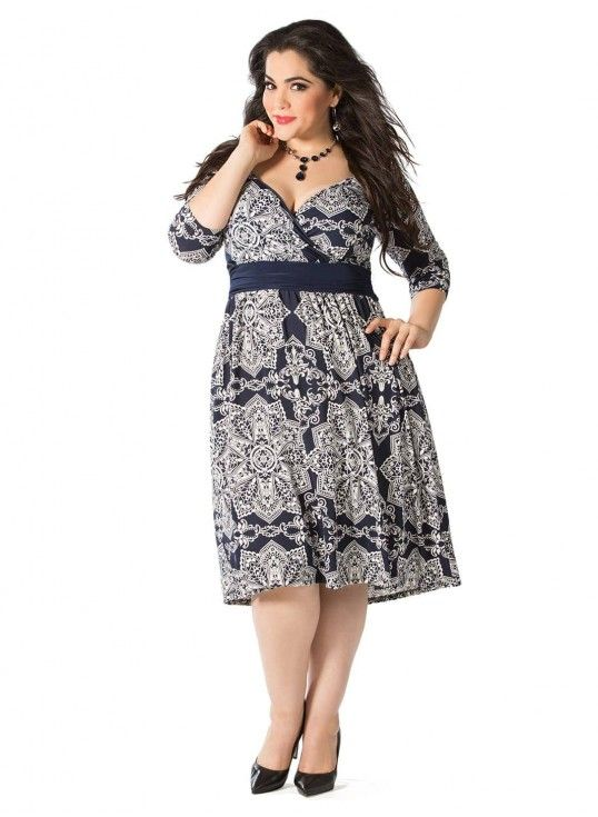 Steph Plus Size Dress in Navy Kaleidoscope Print www.curvaliciousclothes.com #PlusSize #Curvy #Fashion