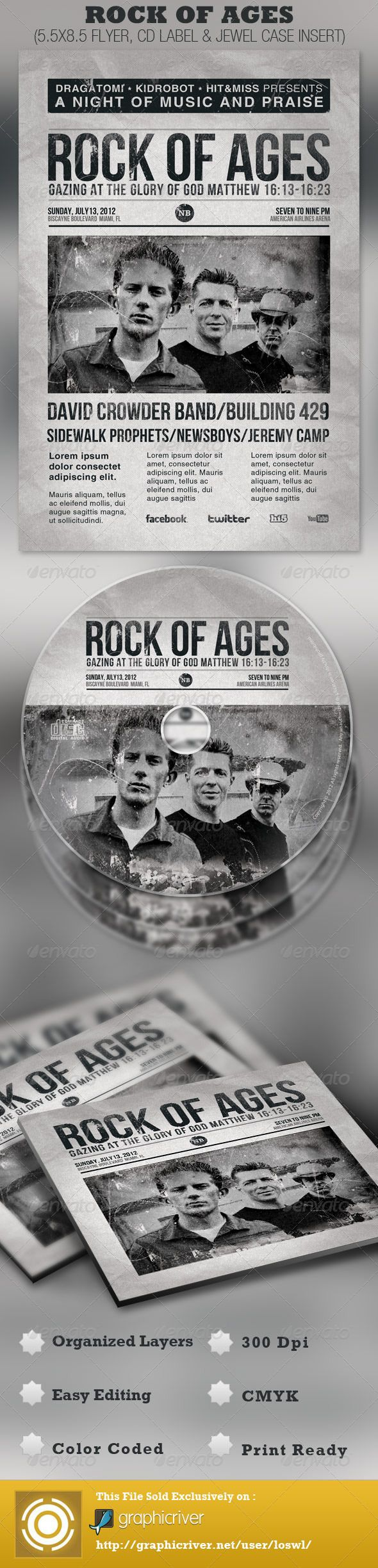 Rock of Ages Church Flyer and CD Template | Template, Gospel concert ...