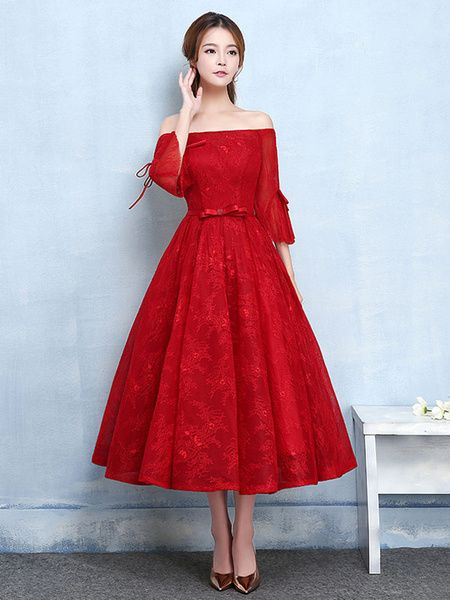 bb752f7f07b Lace Prom Dress Burgundy Off The Shoulder Homecoming Dress Bell Sleeve A  Line Tea Length Graduation Dress With Bow Sash