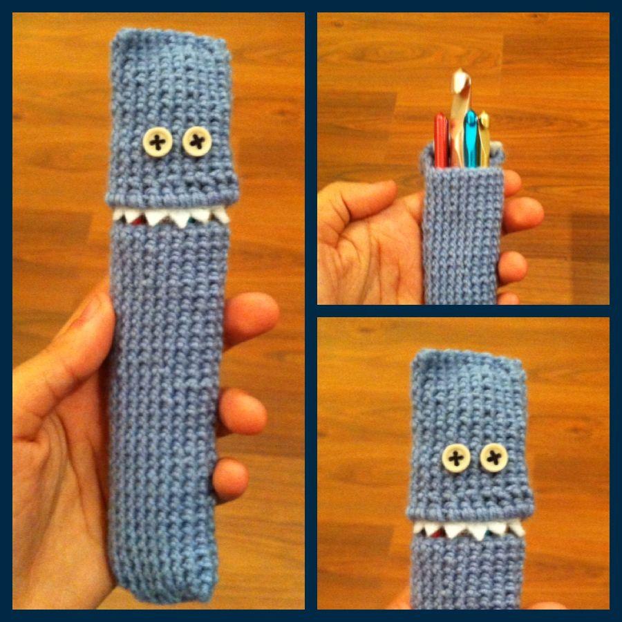 Crochet Hook Monster Case With Teeth