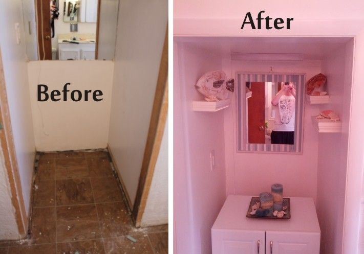 The recessed area opposite the vanity and toilet. Took that large ...