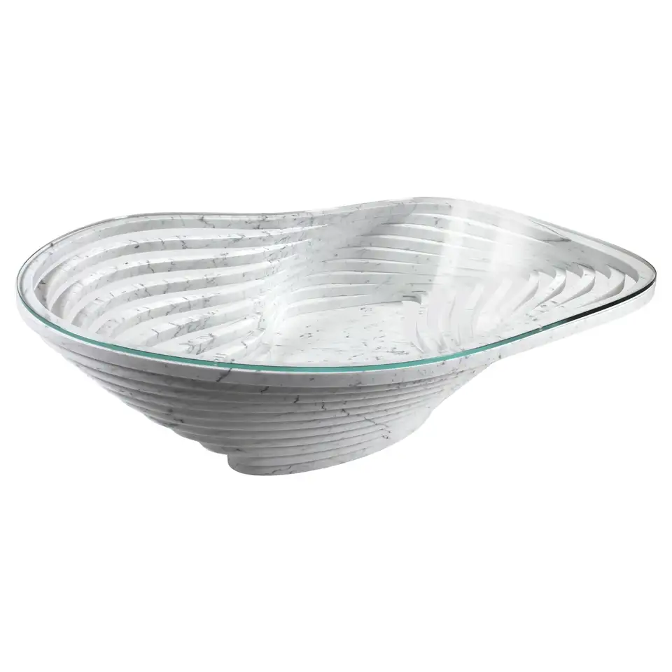 Coffee Table Round Circular White Marble Glass Crystal Contemporary Design Round Coffee Table Unusual Coffee Tables Round Glass Coffee Table [ 960 x 960 Pixel ]