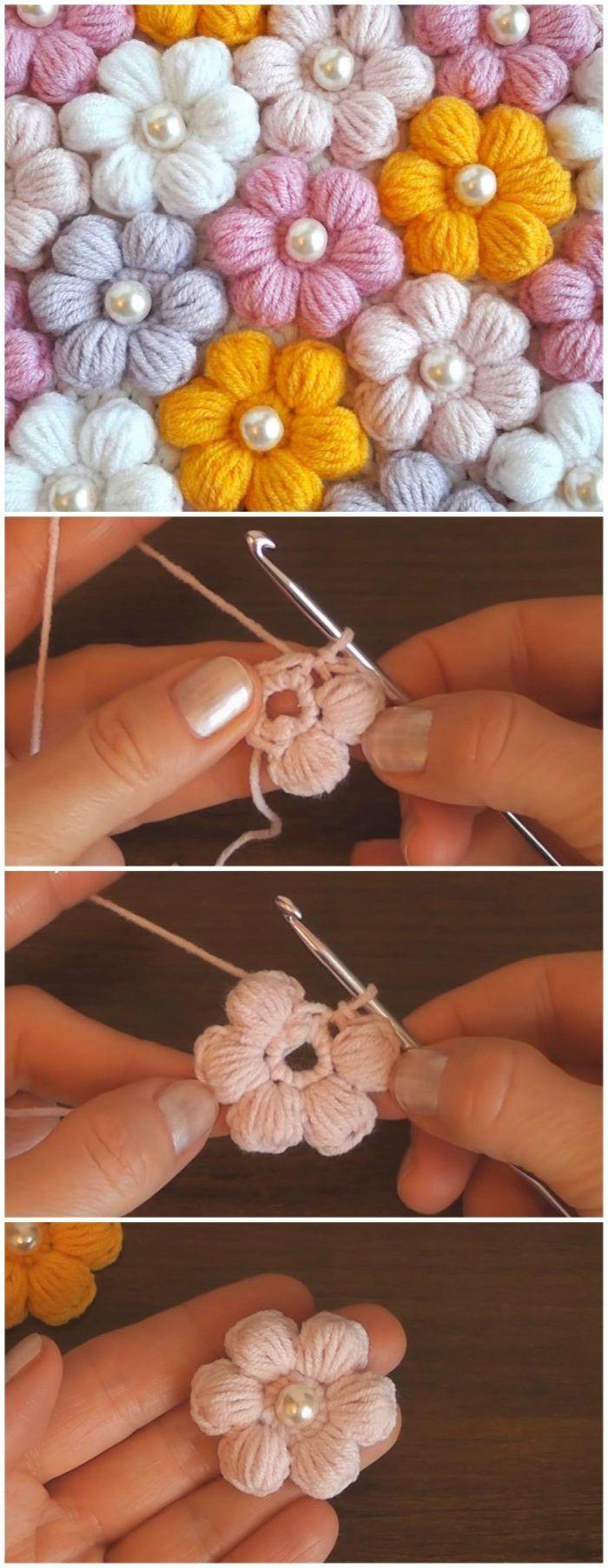 Crochet 3D Puff Flower #crochetflowers