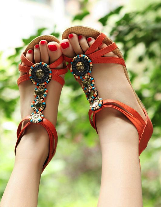 Casual Wedge Summer Orange Sandals