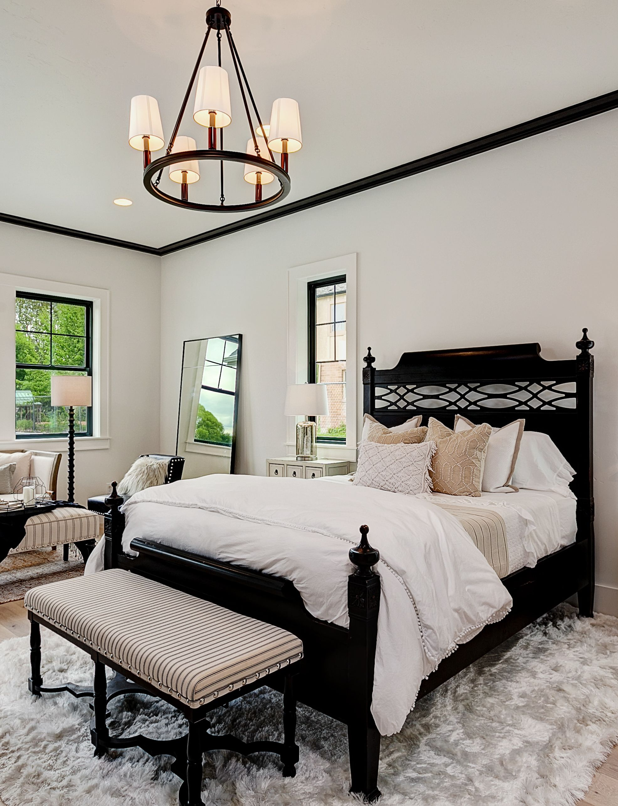 In this master bedroom, your eye is immediately drawn to