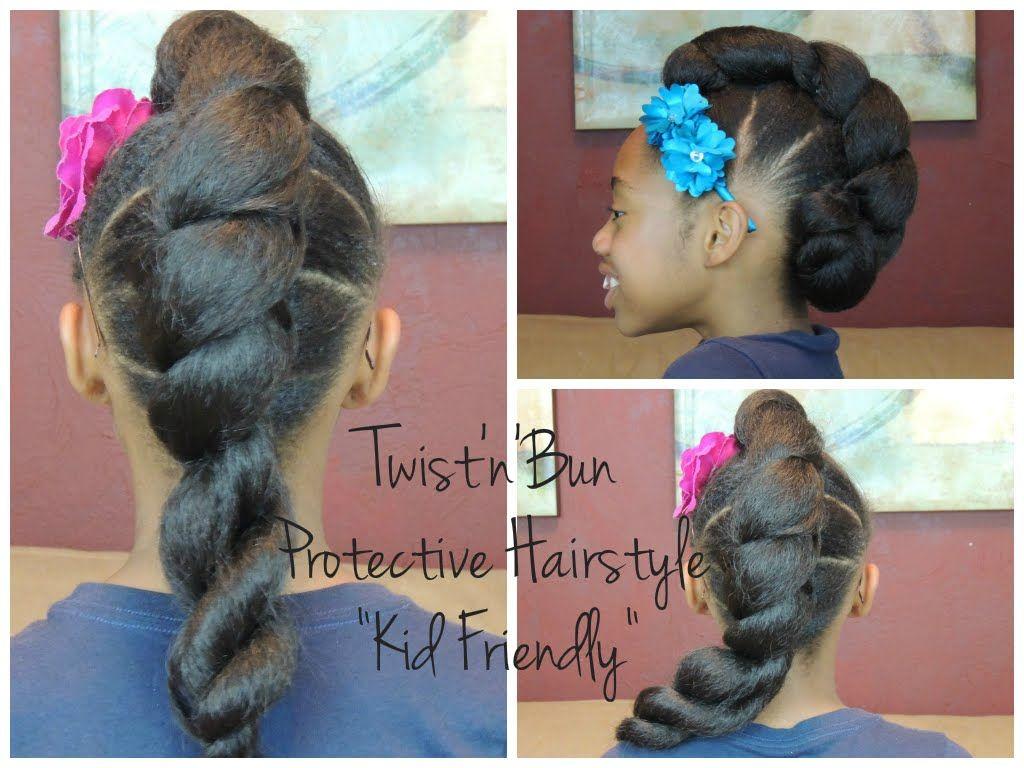 Twist'n'Bun Protective Hairstyle (Kid Friendly) | Hair ...