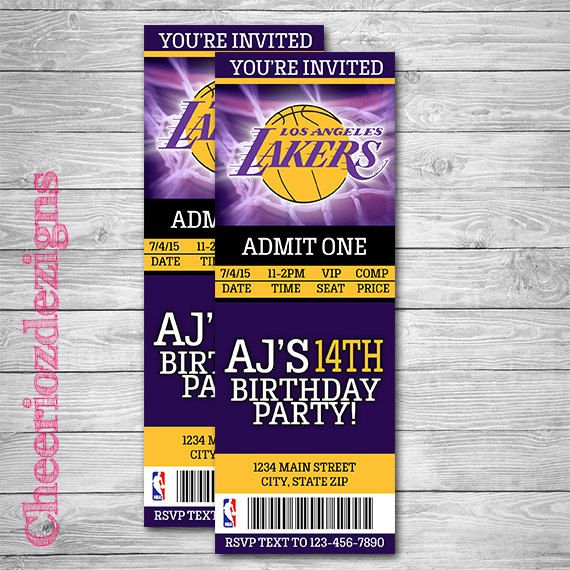 La Lakers Basketball Ticket Invitation Basketball Invitation Lakers Invite Birthday Invita Ticket Invitation Basketball Invitations Basketball Theme Party