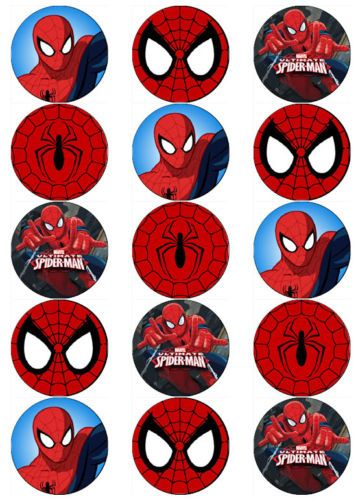 image regarding Free Printable Cupcake Wrappers and Toppers With Spiderman titled Information and facts over SPIDERMAN V7 SUPERHERO EDIBLE WAFER PAPER