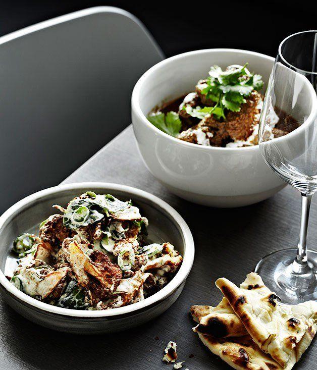Warm cauliflower salad with yoghurt, mint and green chilli