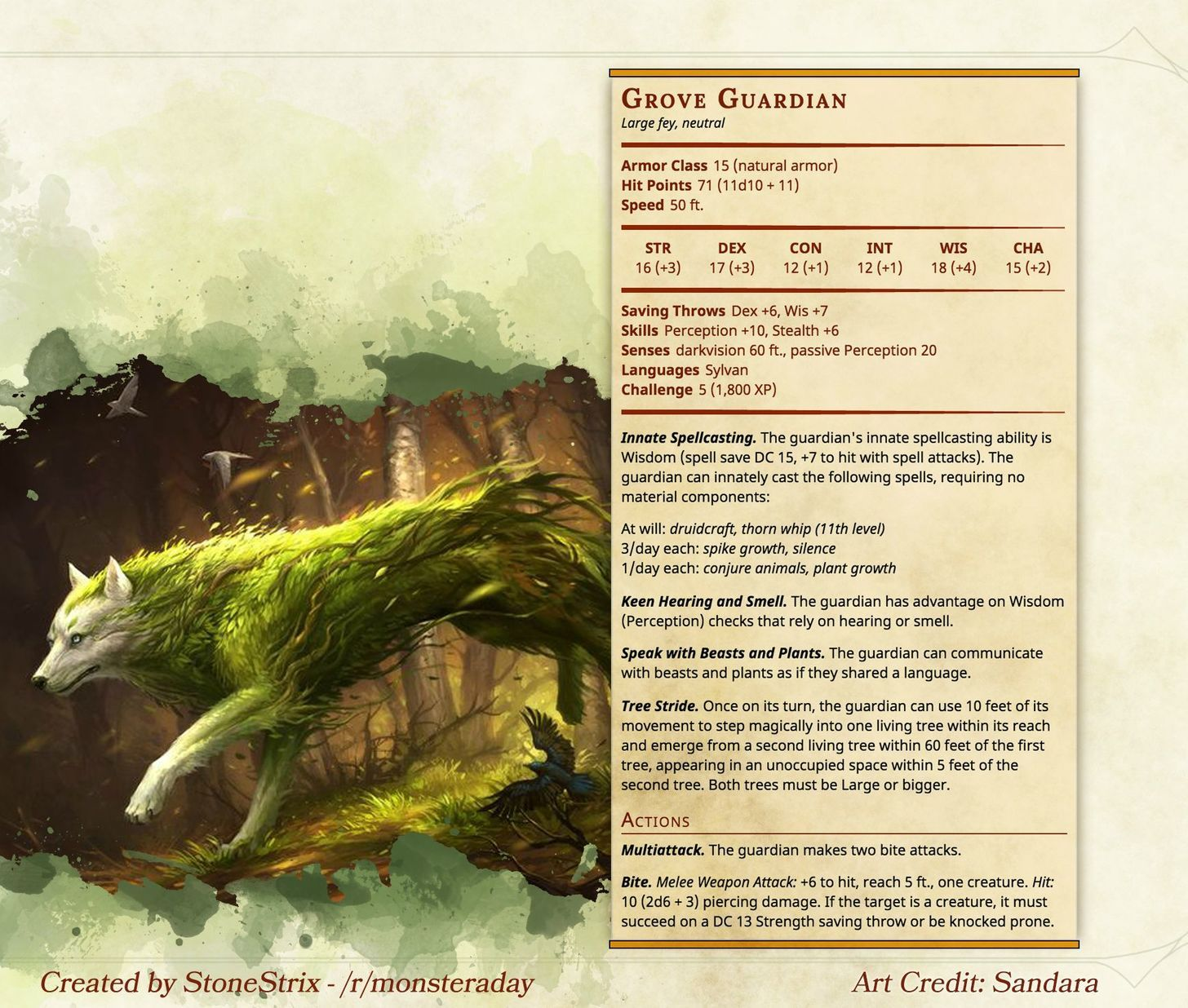 Grove Guardian Dnd Dragons D D Dungeons And Dragons Dnd Monsters