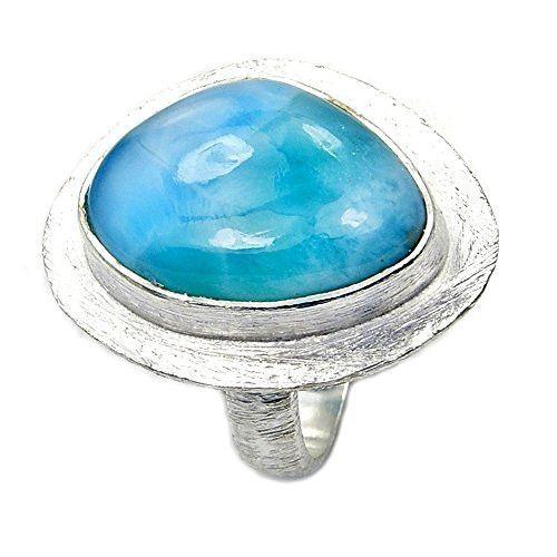 Sterling Silver Rare Genuine Dominican Larimar Ring, Size 5.75