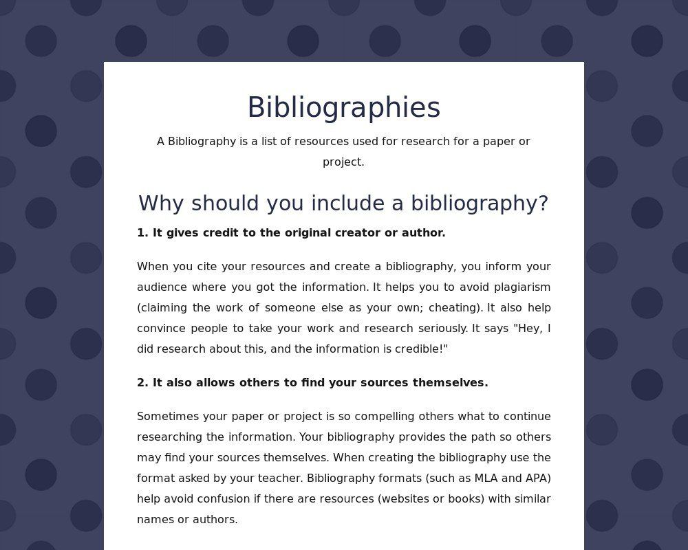 Bibliographies How And Why Books And Websites Why Book List Of Resources Literacy
