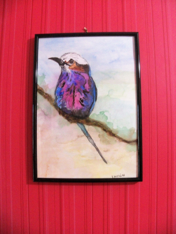 Original Watercolor Bird Purple Blue Bird Bird Painting