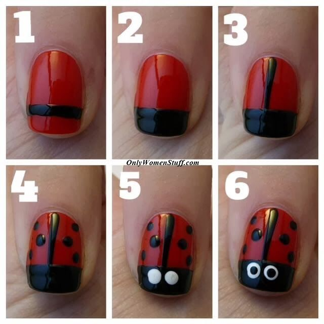 15 Easy Nail Designs For Kids To Do At Home Step By Step Pictures Ladybug Nails Ladybug Nail Art Kids Nail Designs