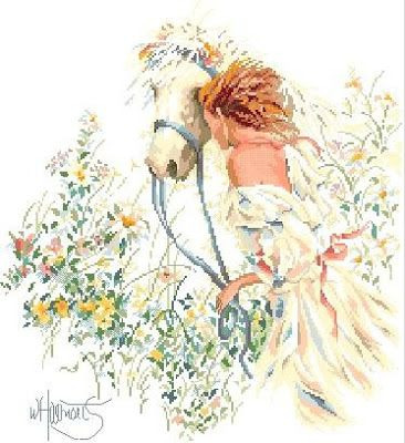 Mujer paseando con su caballo ~ laboresdeesther Punto de cruz gratis