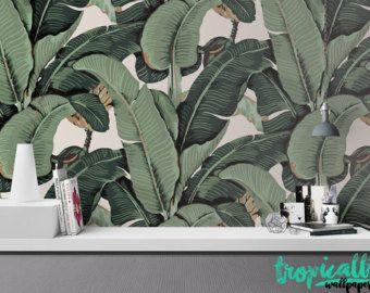 feuille de bananier grande murale aquarelle par anewalldecor du vert pinterest feuille de. Black Bedroom Furniture Sets. Home Design Ideas