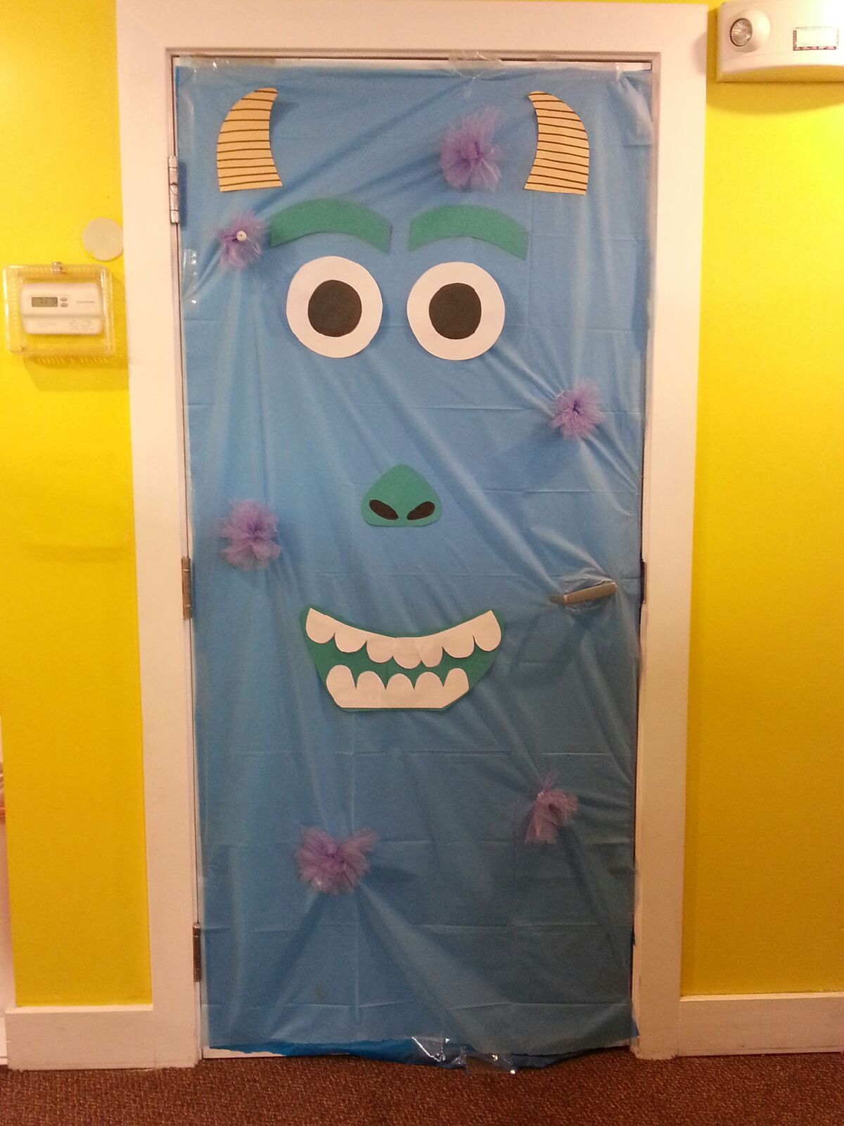 Halloween dorm door decorations - Sully From Monsters Inc Halloween Door