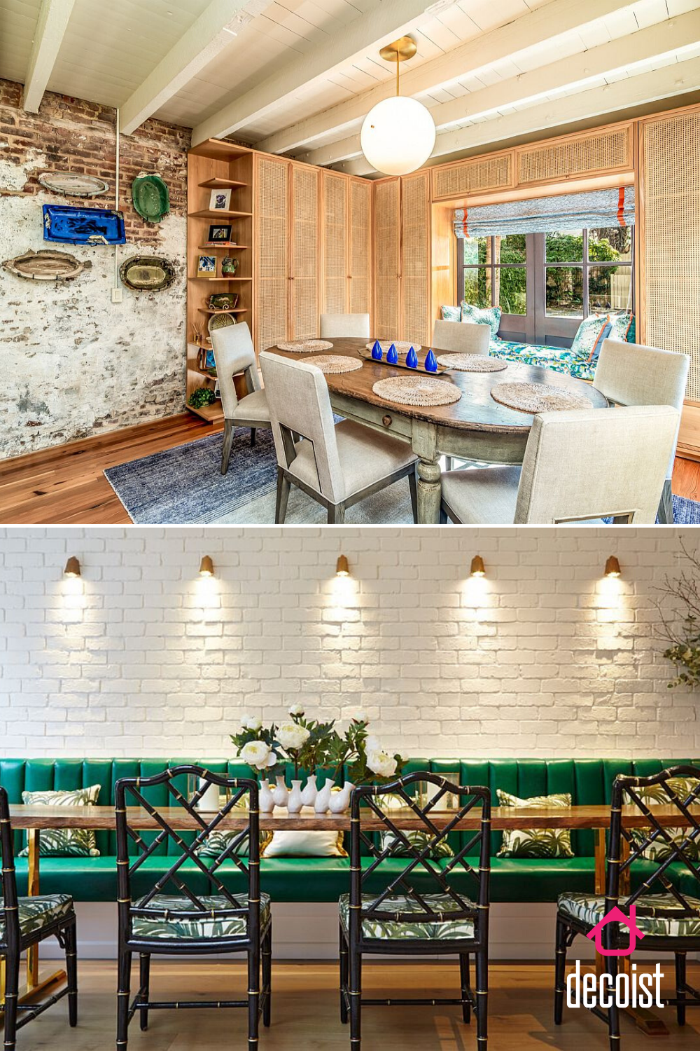 Textured Modernity 20 Dining Rooms With White Brick Walls Brick Wall Decor Farmhouse Style Dining Room White Brick Walls