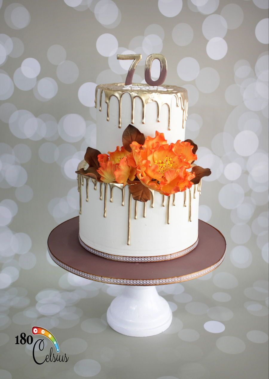 70 Years Loved A Birthday Cake For Old Lady Comissioned By Her Lovely Daugther Big Day Its An Orange And Brown