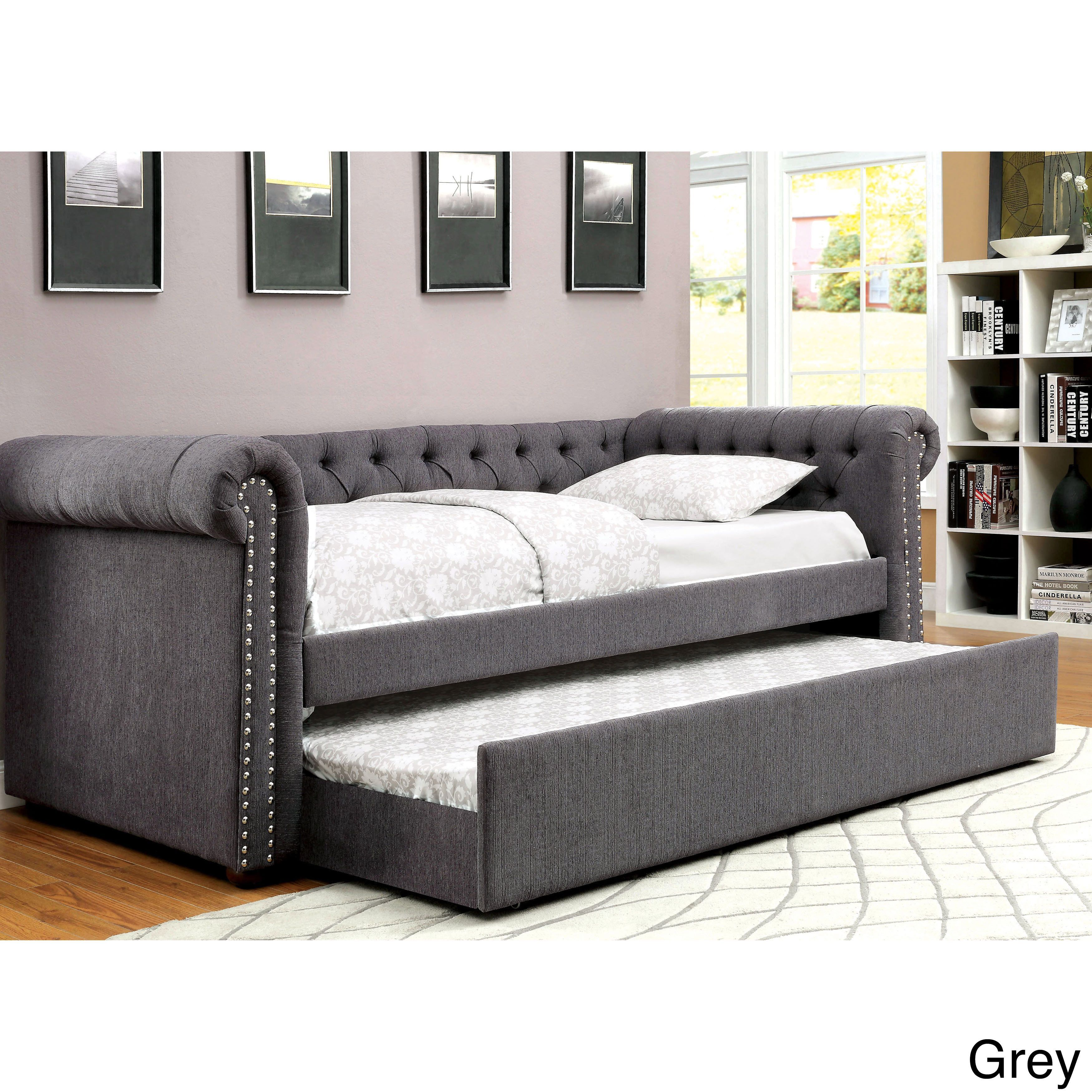 furniture of america nellie tuxedo style tufted flax daybed with