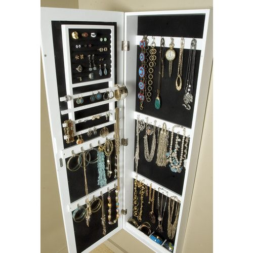 InnerSpace Luxury Products Over The Door/Wall Mounted Jewelry Armoire With  Mirror U0026 Reviews |