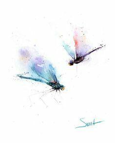 Watercolor Libellule Art D Insecte Art De Libellule Affiche