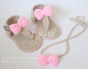 6f6a3ed2b Crochet sandalias bebé sandalias gladiador por EditaMHANDMADE ...