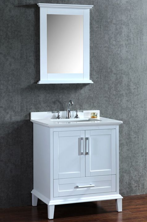 30 Inch Single White Bathroom Vanity Set With Mirror With Images