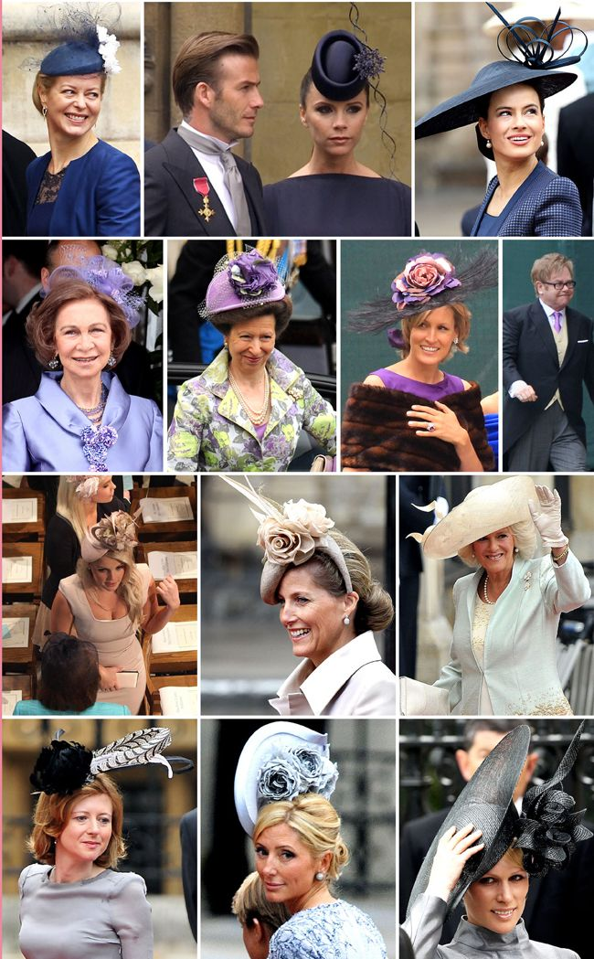 Wedding guests and notable hats at the wedding of Prince William and Kate Middleton - from top row - Lady Helen Taylor, Victoria Beckham, Lady Sophie Windsor, next row: Queen Sofia of Spain, Prncess Anne, ?, Elton John. Next row: Lady Kitty Spencer, Sophie Countess of Wessex, Camilla. Bottom row: ?, Crown Princess Marie-Chantal of Greece, Zara Phillips.