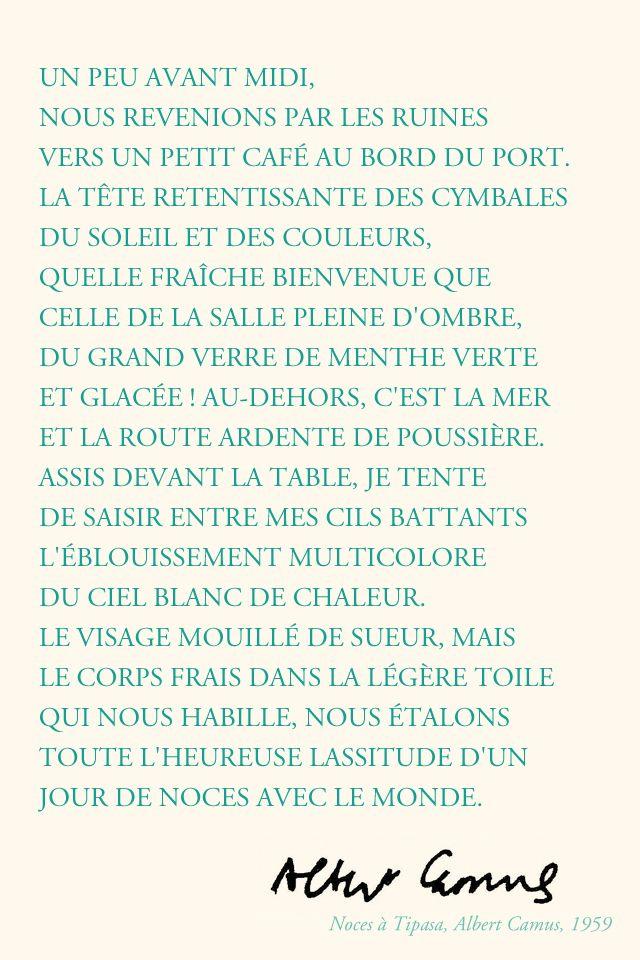 Extrait De Noces Dalbert Camus Poeme Et Citation Albert
