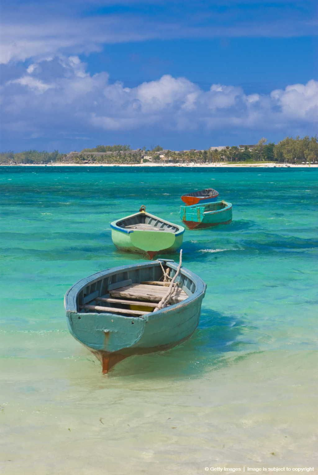 Small Fishing Boats in the Turquoise Sea, Mauritius ...