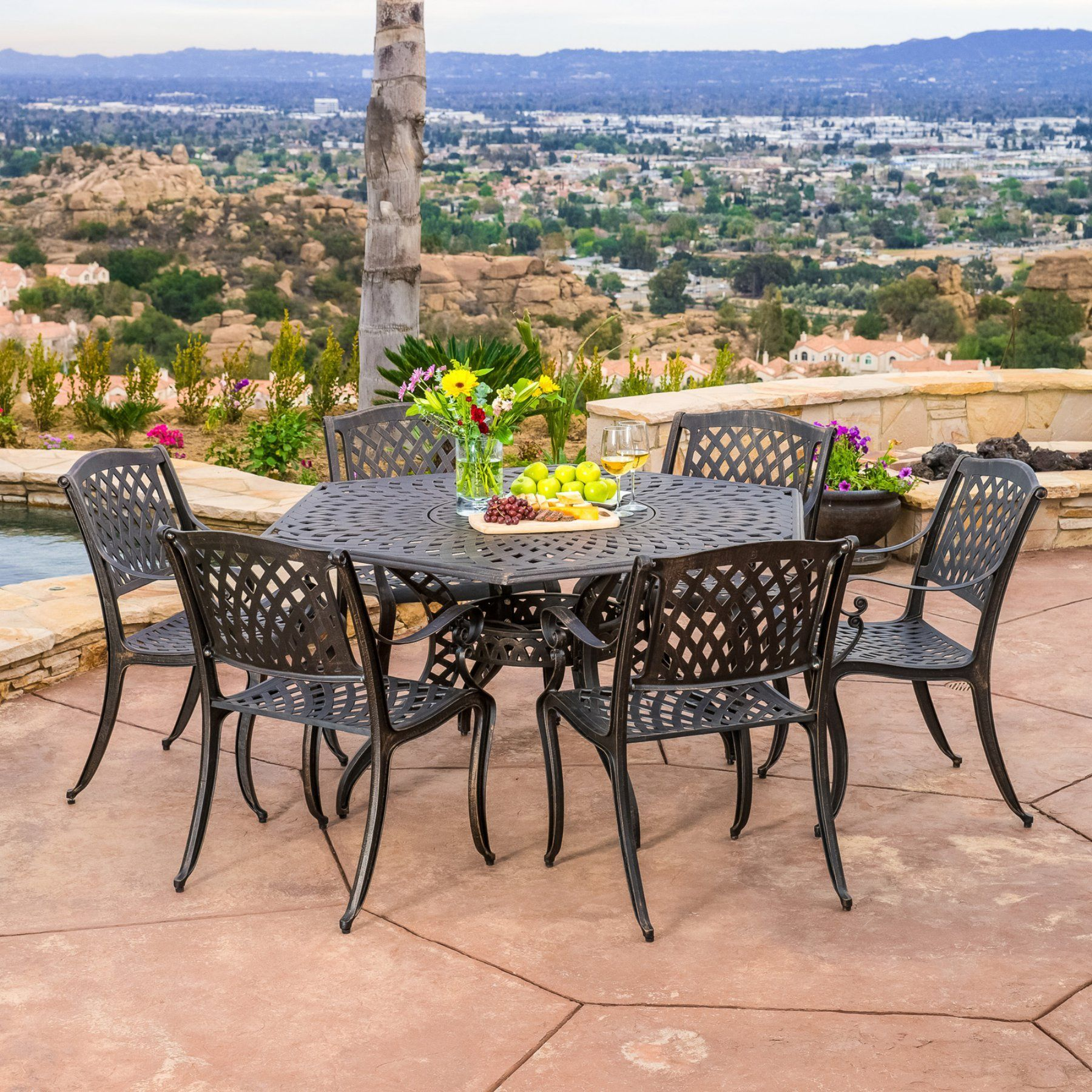Outdoor Best Selling Home Decor Furniture Spencer Aluminum 7 Piece Hexagon  Patio Dining Set   239077