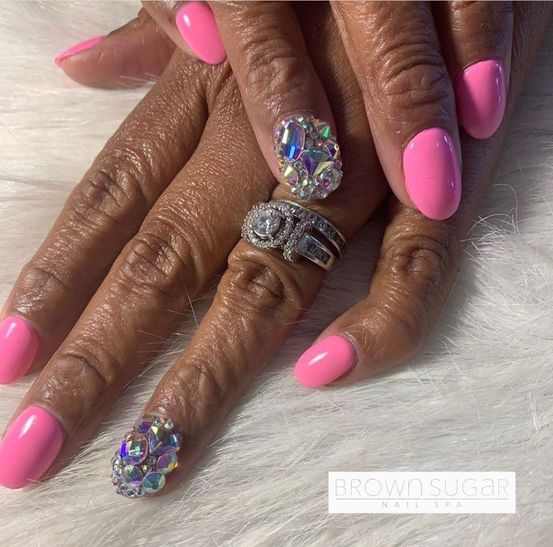 #nails #nailart #nailpolish #bling #blingnails #blingbling #pink #pinknails #acrylicnails #swarovski #swarovskinails #swarovskicrystals #accentnails #brownsugarnailspa