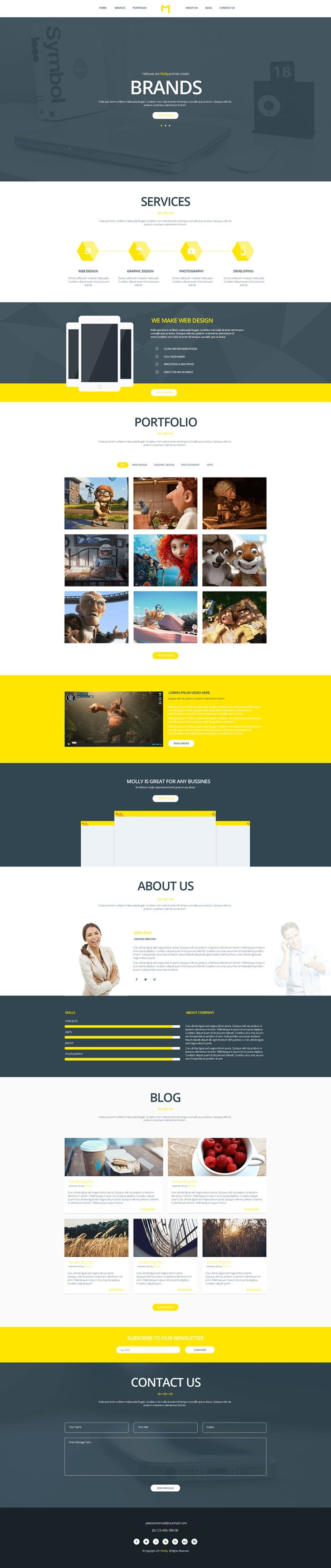 Free Single Page Website Templates Psd Css Author Brochure Template Psd Webpage Template Website Template One page website template free