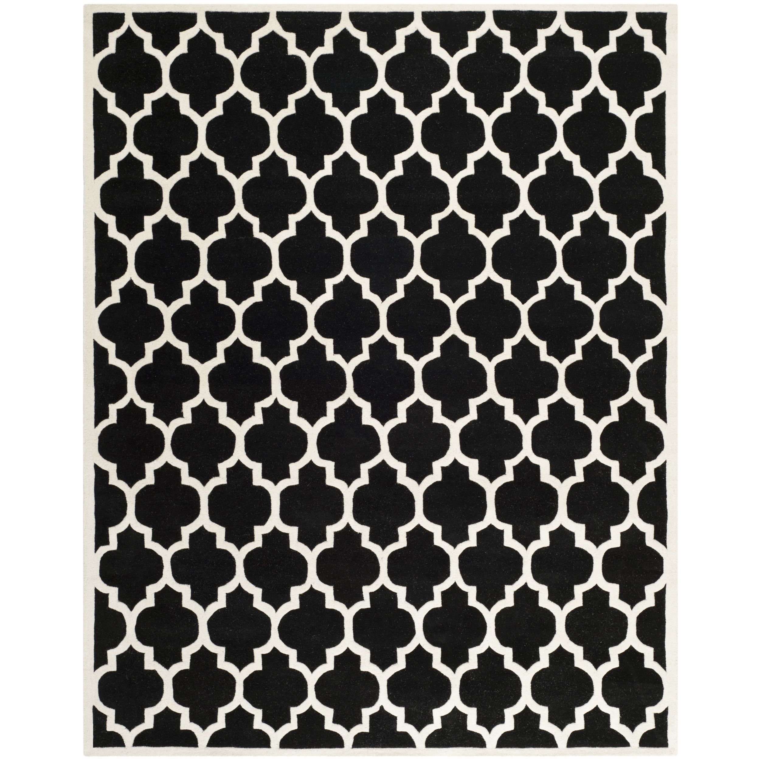 Safavieh Handmade Moroccan Rectangular Black Wool Rug (8' x 10') (CHT734K-8), Size 8' x 10' (Cotton, Geometric)
