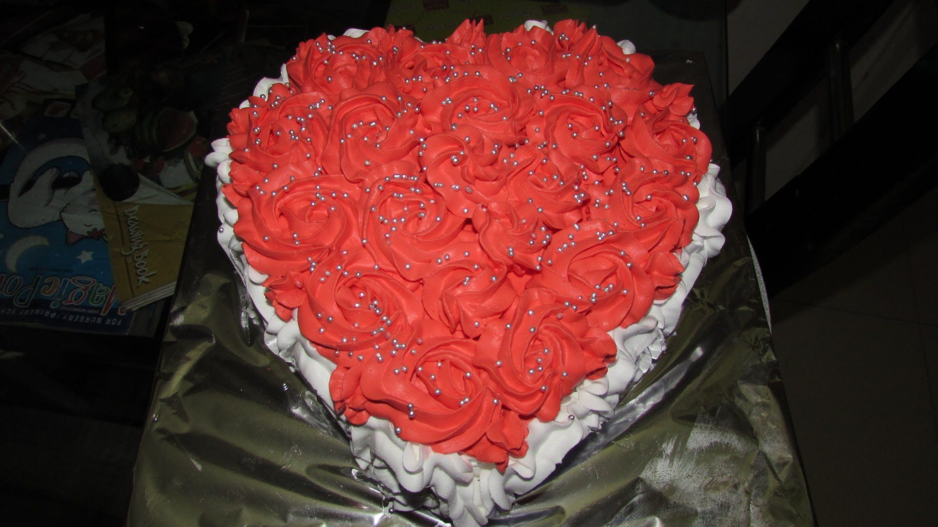 Anniversary Rose Cake Design Heart Shaped Chocolate Flavour Cake By