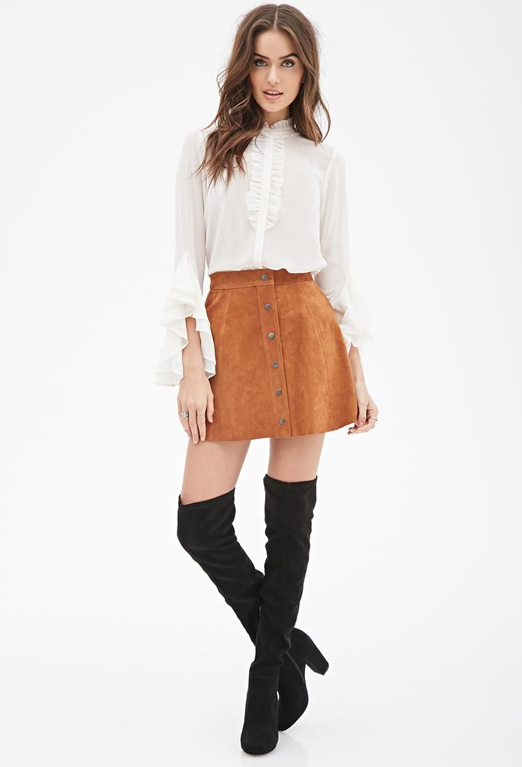 79b467ec23 Shop Spring s Biggest Trend  Brown Suede Skirts - Buttoned Suede Skirt