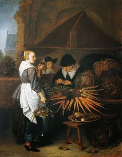 """From the 17th century -""""The Vegetable Stall"""" by Quiringh van Brekelenkam from 1665 (The Detroit Institute of Arts)"""