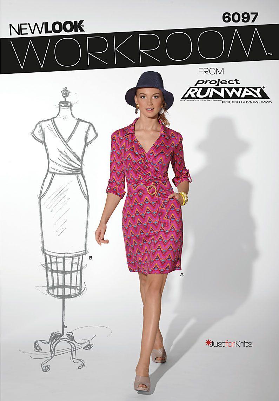 This dress screams 1970s polyester powerknit. Love the 3/4 sleeve ...
