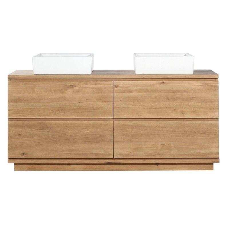 des grands tiroirs pour tout ranger {Meuble sous vasques 4 tiroirs - meuble salle de bain en chene massif