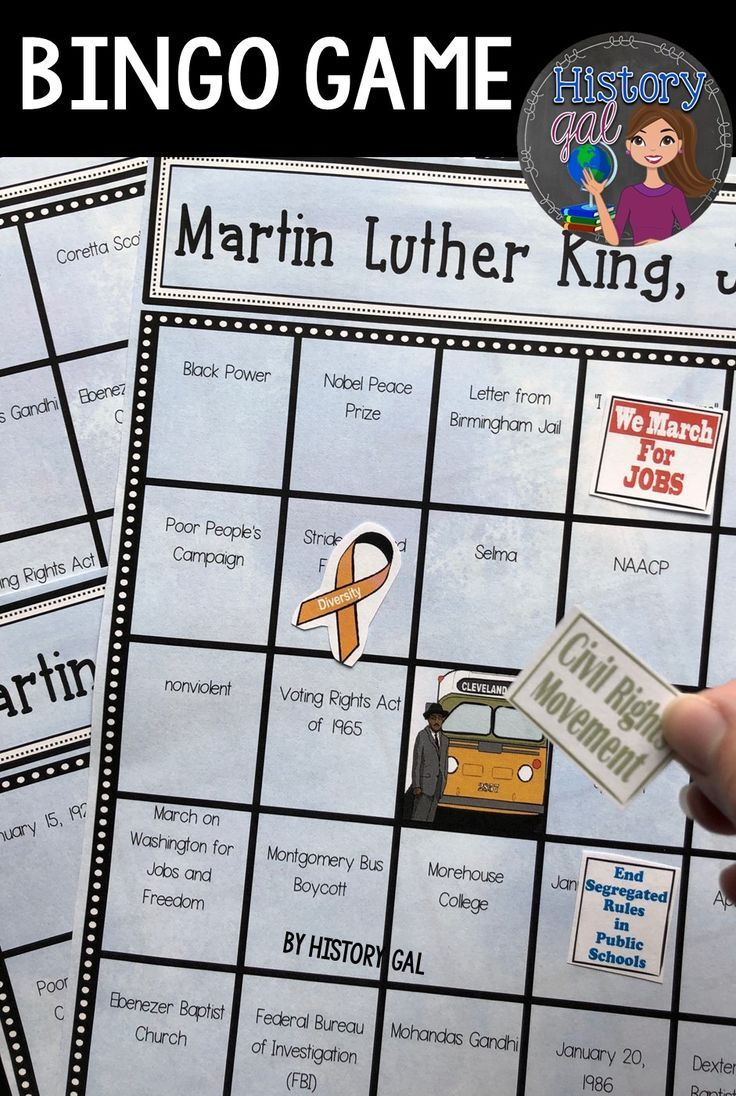 Martin Luther King Jr. Bingo | Martin luther king ...