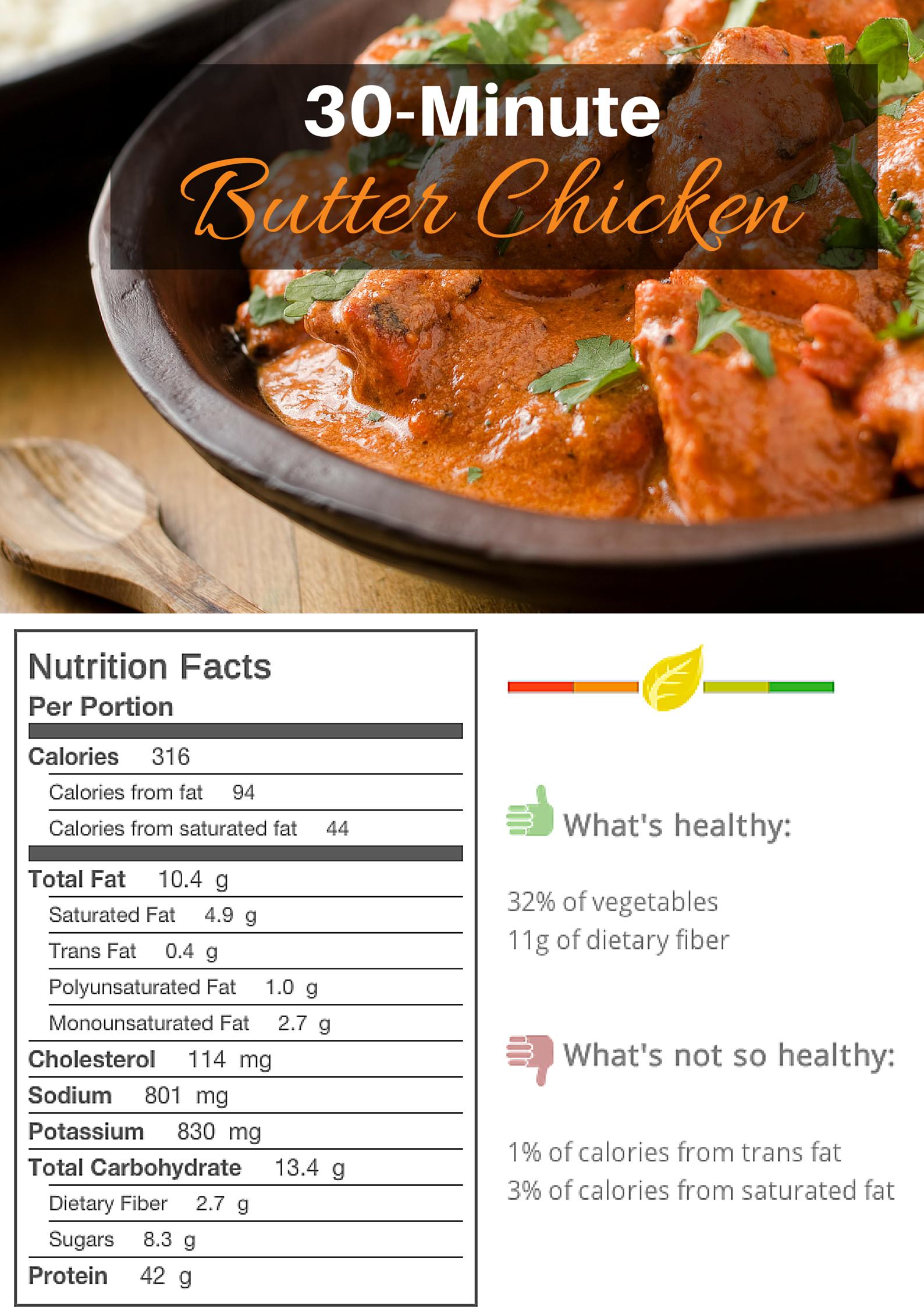 30 Minute Butter Chicken Mealgarden Recipe Butter Chicken Easy Weeknight Dinners Healthy Chicken Nutrition Facts